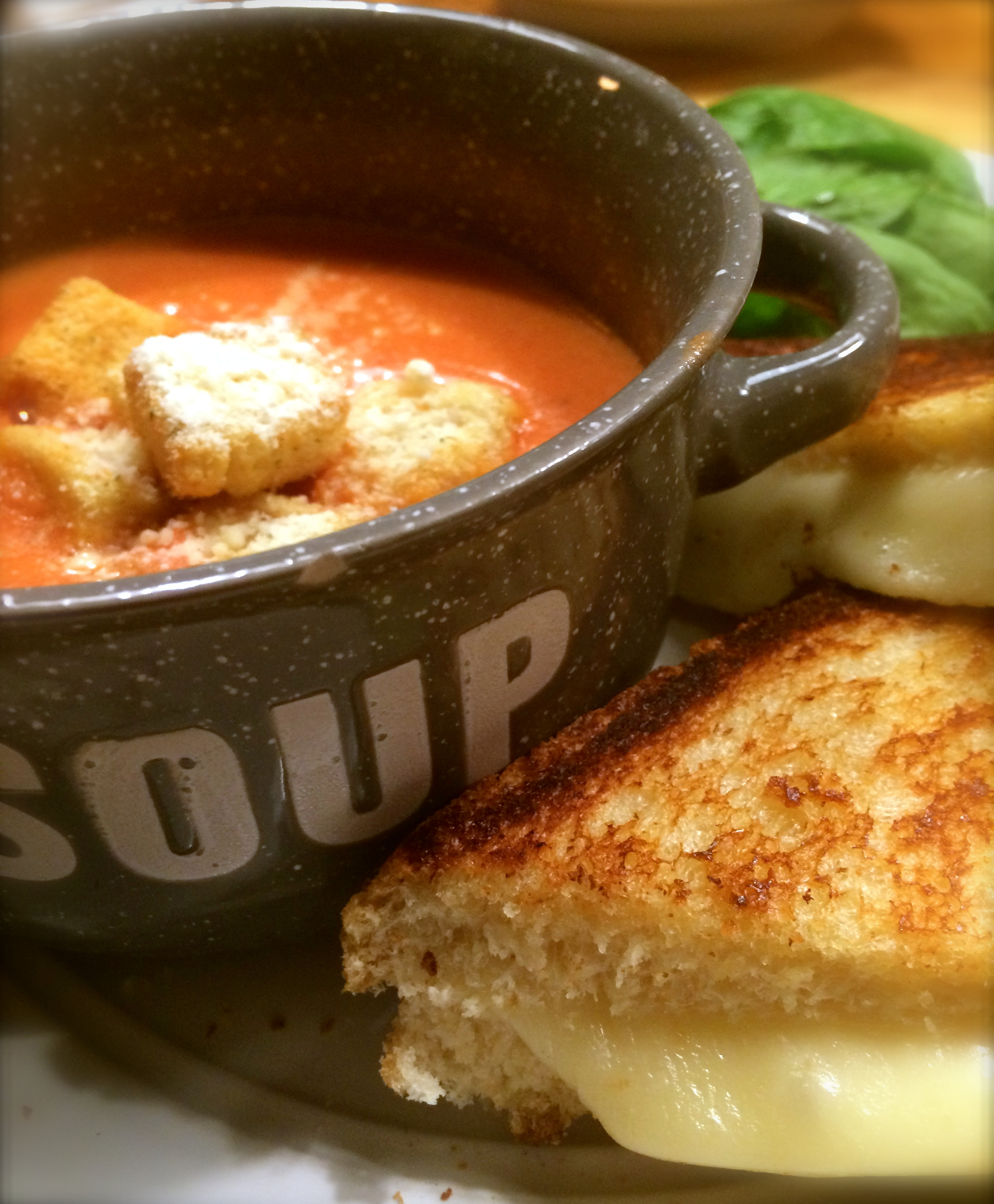 Tomato Basil Soup and Grilled Mozzarella Sandwich